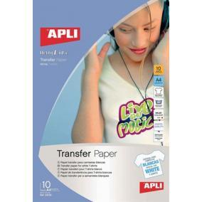 Fólia, vasalható, A4, tintasugaras nyomtatóba, fehér pólóhoz, APLI [10 lap]