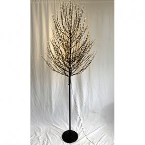 Fa gömb 2100 LED világítással melegfehér műanyag 300 cm fekete