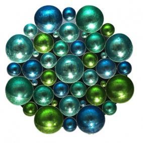 Fali dekor, kerek fém 80cm x 80cm x 9cm kék,türkisz,zöld