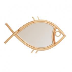 Fali tükör, Hal formájú Tan-Tan, rattan-üveg, közepes 29x19x2 natúr