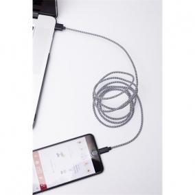 Fekete-fehér textil borítású Apple kábel