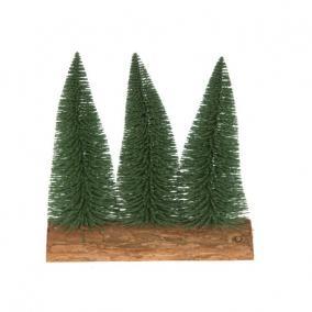 Fenyő 3db-os fa talpon műanyag 17cm havas