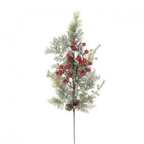 Fenyő ág bogyókkal betűzős 65cm műanyag zöld, piros