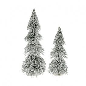 Fenyő dekoráció műanyag 20cm+14,5cm havas [2 db]