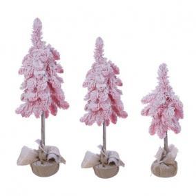 Fenyő zsákban havas műanyag 130/100/60cm rózsaszín [3 db]