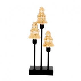 Fenyőfa 3db üveg, fém, LEDes, elemes 12cm x7cm x33,5 cm arany/fekete