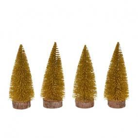 Fenyőfa glitteres műanyag 10cm arany [4 db]