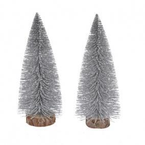 Fenyőfa glitteres műanyag 15cm ezüst [2 db]