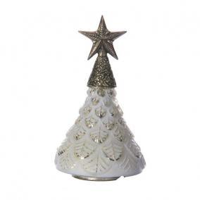 Fenyőfa üveg/fém csillaggal 17cm x17cm x28 cm antik fehér