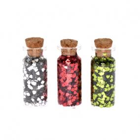 Fiola szív alakú konfettivel üveg 5,5x2,5cm zöld,piros,ezüst [3 db]