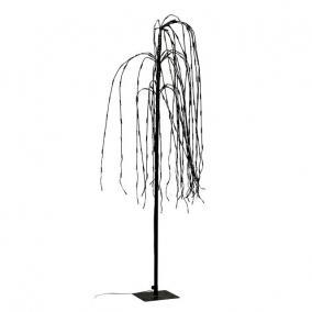 Fűzfa 300 LED világítással melegfehér elektromos műanyag 140 cm fekete