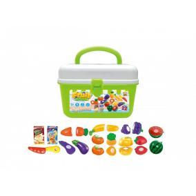 Játékkészlet bőröndben - zödségek és gyümölcsök