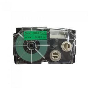 Feliratozógép szalag, 6 mm x 8 m, CASIO, zöld-fekete