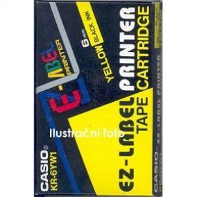 Feliratozógép szalag, 6 mm x 8 m, CASIO, sárga-fekete