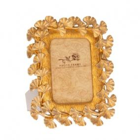 Gingko mintázatú képkeret poly 19,8cm x24,5cm x1,8 cm arany