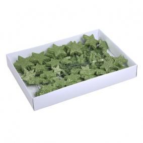 Glitteres csillag műanyag 40/50/70 mm zöld [100 db]
