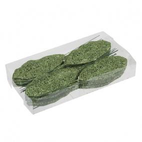 Glitteres levél betűzős műanyag 6 cm x 14 cm zöld [36 db]