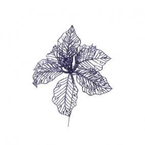 Glitteres virág betűzős műanyag 17 cm lila [2 db]