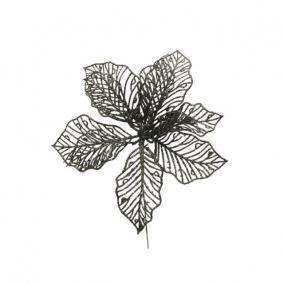 Glitteres virág betűzős műanyag 17 cm sötét zöld [2 db]