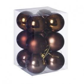 Gömb, dobozban műanyag 6cm barna 3 féle [12 db]