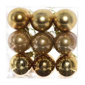 Gömb, dobozban műanyag 8cm óarany 3 féle [9 db]