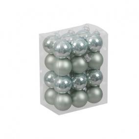 Gömb üveg 2,5cm vízkék fényes-matt [24 db]