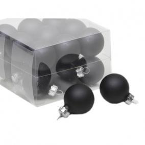 Gömb üveg 3 cm fekete matt-fényes [18 db]