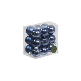 Gömb üveg 3 cm kék fényes-matt [18 db]