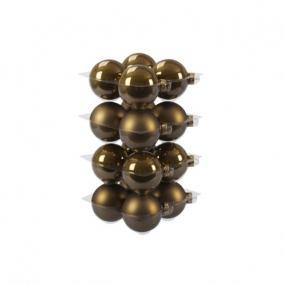 Gömb üveg 8cm oliva barna fényes-matt [16 db]