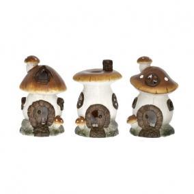Gomba házikó kerámia 8,5 cm x 8,5 cm x 14 cm barna,fehér 3 féle