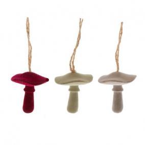 Gomba lapos flokkolt akasztós poly 5,5cm x5,5cm x5,5 cm bordó/szürke/zöld 3 féle