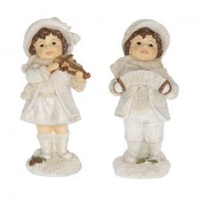 Gyerek fiú,lány álló harmonikával,hegedűvel glitteres poly 9,2 cm x 7,6 cm x 19,7cm fehér 2 féle