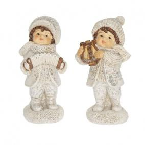 Gyerek fiú,lány hangszerrel álló glitteres poly 4,6 cm x 4,2 cm x 9,7cm fehér 2 féle