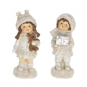 Gyerek fiú,lány macival,ajándékkal álló glitteres poly 4 cm x 4,3 cm x 10 cm fehér 2 féle