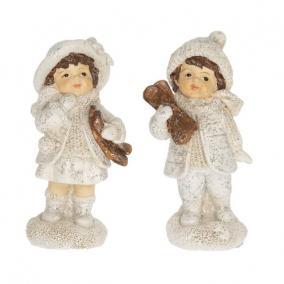 Gyerek fiú,lány síléccel álló glitteres poly 4,5 cm x 4,3 cm x 9,9 cm fehér 2 féle
