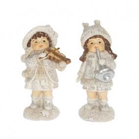Gyerek hangszerrel álló glitteres poly 5,1 cm x 4 cm x 9,6cm fehér 2 féle
