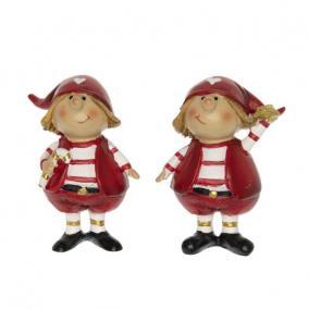 Gyerek sapkában álló poly 4 cm x 3 cm x 7,5 cm piros,fehér 2 féle