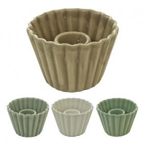 Gyertyatartó muffin alakú kerámia 7 cm x 5 cm x 7 cm natúr/szürke/zöld 3 féle