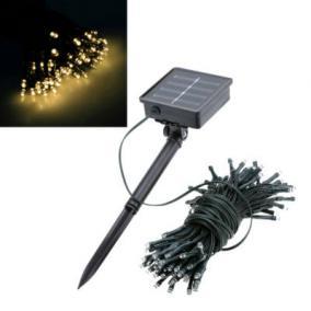Kerti fényfüzér, 100 LED-es napelemes, hidegfehér, 10 m