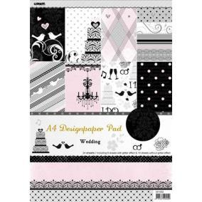 Mintás kartonpapír csomag, A4, esküvői [24 ív]