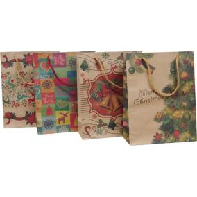 Dísztasak, 15x20x6 cm, natúr, karácsonyi minták