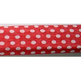 Krepp papír 50x200 cm, VICTORIA, piros alapon fehér pöttyös