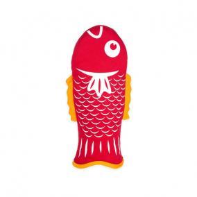 Hal formájú edényfogó kesztyű, piros