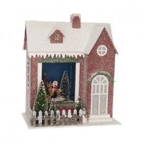 Házikó világító,havazó,zenélő elektromos műanyag 29,5 cm x 18,5 cm x 34,5 cm piros