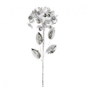 Hortenzia fényes polyester 60 cm x 20 cm x 20 cm ezüst