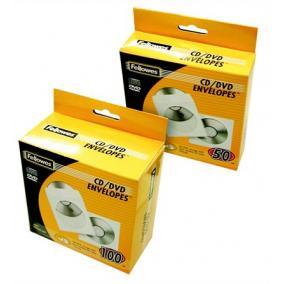 CD/DVD boríték, papír, ablakos, FELLOWES, fehér [50 db]