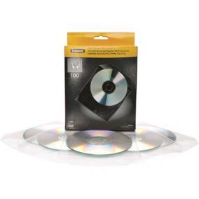 CD/DVD boríték, műanyag, átlátszó, FELLOWES [100 db]