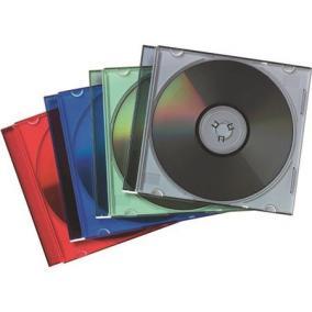 CD-tok, vékony, 1 lemez, FELLOWES, vegyes színek [25 db]