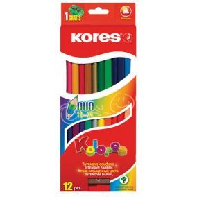 Színes ceruza készlet, kétvégű, háromszögletű, KORES