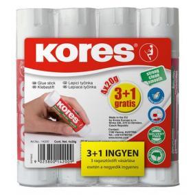 Ragasztóstift, 20 g, 3+1 akciós kiszerelés, KORES
